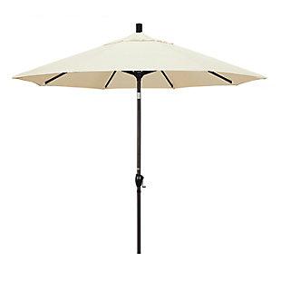 California Umbrella Pacific Trail Series 9' Outdoor Patio Umbrella With Push Button Tilt Crank Lift, Canvas, rollover