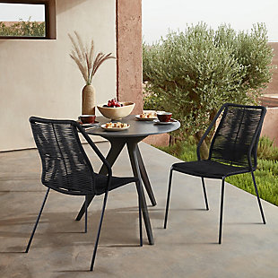 Armen Living Clip Outdoor Stackable Dining Chair (Set of 2), Black, rollover