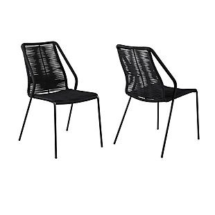 Armen Living Clip Outdoor Stackable Dining Chair (Set of 2), Black, large