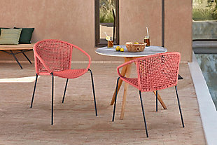 Armen Living Snack Outdoor Stackable Dining Chair (Set of 2), Brick Red, rollover