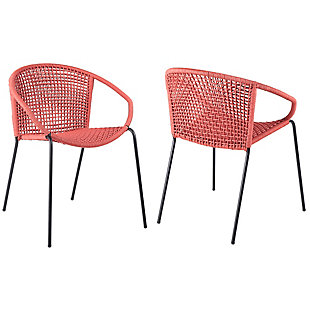 Armen Living Snack Outdoor Stackable Dining Chair (Set of 2), Brick Red, large
