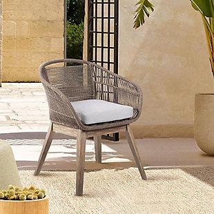 Armen Living Tutti Frutti Outdoor Dining Chair, Gray/Light Brown, rollover