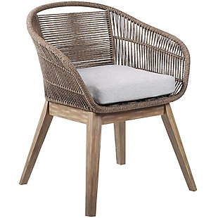 Armen Living Tutti Frutti Outdoor Dining Chair, Gray/Light Brown, large