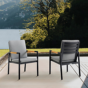 Armen Living Crown Outdoor Dining Chair (Set of 2), Black/Dark Gray, rollover