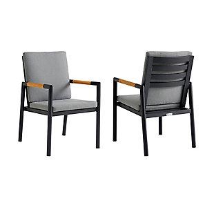 Armen Living Crown Outdoor Dining Chair (Set of 2), Black/Dark Gray, large