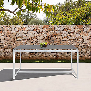Armen Living Crown Outdoor Dining Table, White/Gray, rollover