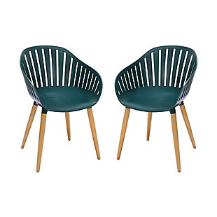 Armen Living Nassau Outdoor Dining Chair with (Set of 2), Green, large