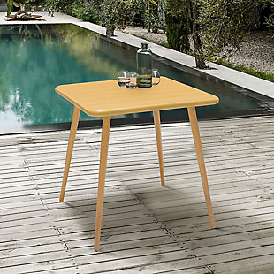 Armen Living Nassau Outdoor Dining Table, Yellow, rollover