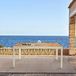 Armen Living Portals Outdoor Dining Table, White, rollover