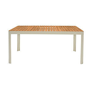 Armen Living Portals Outdoor Dining Table, White, large