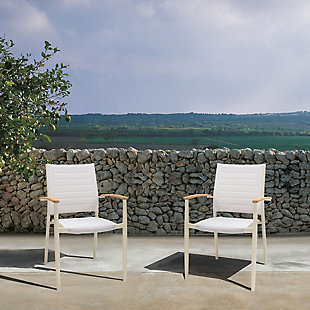 Armen Living Portals Outdoor Stacking Dining Chair (Set of 2), White, rollover