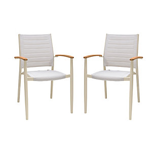 Armen Living Portals Outdoor Stacking Dining Chair (Set of 2), White, large