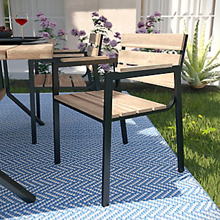 Southern Enterprises Chesterton Outdoor Slatted Chair (Set of 2), , rollover