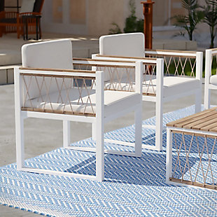 Southern Enterprises Gerrad Outdoor Cushioned Chair (Set of 2), , rollover