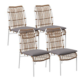 Southern Enterprises Stetra 4-Piece Outdoor Stackable Dining Chair Set, , large