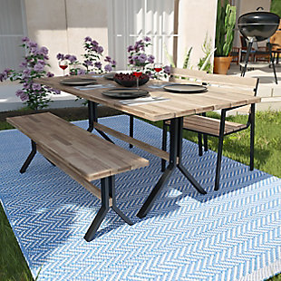 Southern Enterprises Chesterton Outdoor Slatted  Dining Table, , rollover