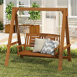 Furinno Tioman Outdoor Water Resistant Hanging Porch Swing with Stand, , rollover