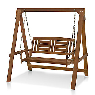 Furinno Tioman Outdoor Water Resistant Hanging Porch Swing with Stand, , large