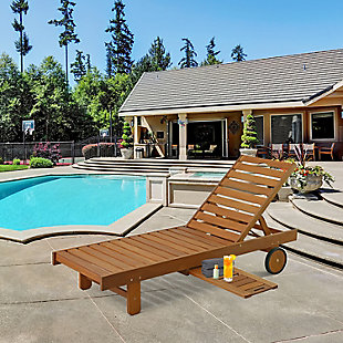 Furinno Tioman Outdoor Hardwood Sun Lounger with Tray, , rollover