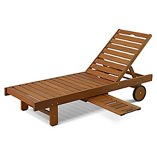 Furinno Tioman Outdoor Hardwood Sun Lounger with Tray, , large