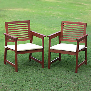 Furinno Tioman Outdoor Hardwood Armchair with Cushion (Set of 2), , rollover