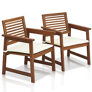 Furinno Tioman Outdoor Hardwood Armchair with Cushion (Set of 2), , large