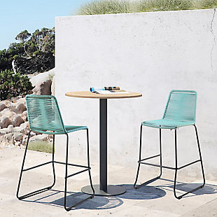 """Armen Living Shasta 26"""" Outdoor Rope Stackable Counter Stool (Set of 2), Black, rollover"""