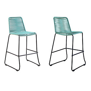 """Armen Living Shasta 26"""" Outdoor Rope Stackable Counter Stool (Set of 2), Black, large"""