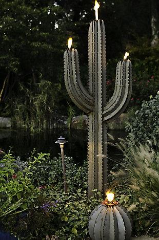 Desert Steel 5' Outdoor Saguaro with Torch, , rollover