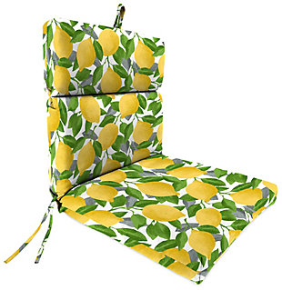Jordan Manufacturing Outdoor Weather Resistant French Edge Dining Chair Cushion, Citrus Lemon, large