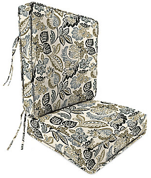 Jordan Manufacturing Outdoor Weather Resistant Attached Deep Seat Chair Cushion 2-Piece Set, Dailey Pewter, rollover