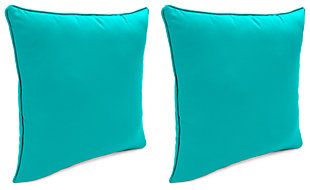 "Home Accents 20"" x 20"" Outdoor Sunbrella® Pillow (Set of 2), Teal, large"