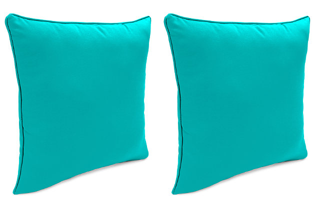 """Home Accents 24"""" x 24"""" Outdoor Sunbrella® Pillow (Set of 2), Teal, large"""