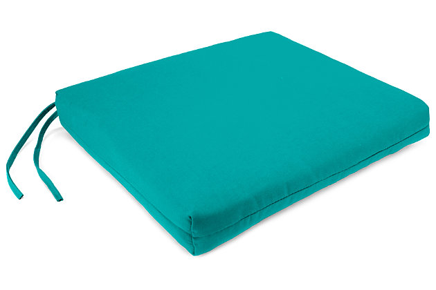 """Home Accents 21"""" x 19"""" French Edge Seat Cushion, Teal, large"""