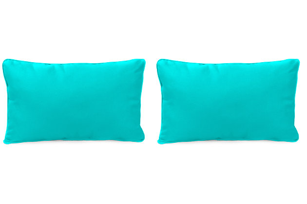 """Home Accents 20"""" x 13"""" Outdoor Sunbrella® Pillow (Set of 2), Teal, large"""