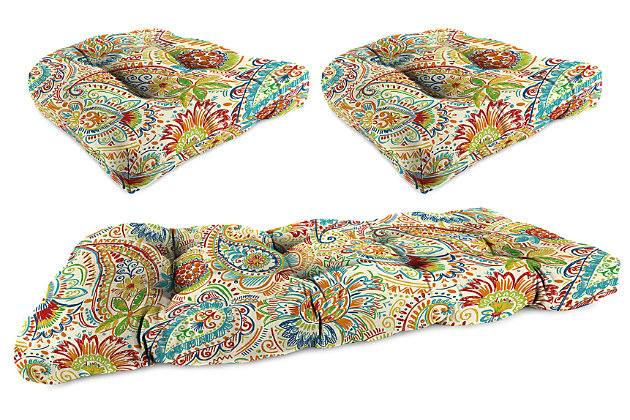 Home Accents Wicker Tufted Cushion Set (Set of 3), Multi, large