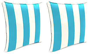 "Home Accents 17"" x 17"" Outdoor Pillow (Set of 2), Turquoise/White, rollover"