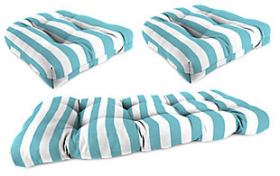 Home Accents Wicker Tufted Cushion Set (Set of 3), Turquoise/White, rollover