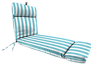 "Home Accents 22"" x 73"" French Edge Chase Lounge with Ties, Turquoise/White, large"