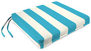 "Home Accents 19"" x 18"" French Edge Seat Cushion, Turquoise/White, rollover"