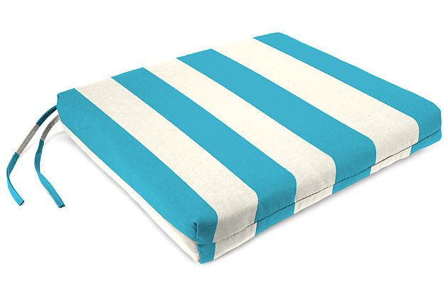 "Home Accents 19"" x 18"" French Edge Seat Cushion, Turquoise/White, large"