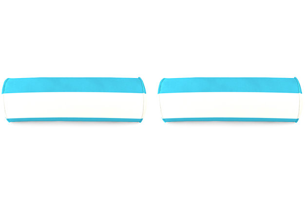 "Home Accents 20"" x 7"" Bolster Outdoor Pillow (Set of 2), Turquoise/White, large"