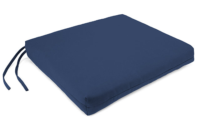 "Home Accents 23.5"" x 19"" French Edge Seat Cushion, Navy, large"