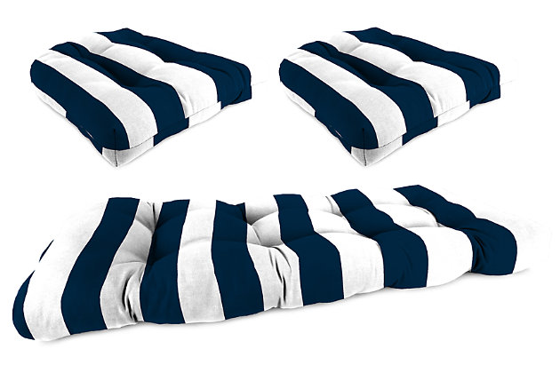 Home Accents Wicker Tufted Cushion Set (Set of 3), White/Navy, large