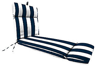 "Home Accents 22"" x 73"" French Edge Chase Lounge with Ties, White/Navy, large"