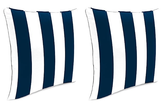 "Home Accents 20"" x 20"" Outdoor Pillow (Set of 2), White/Navy, large"