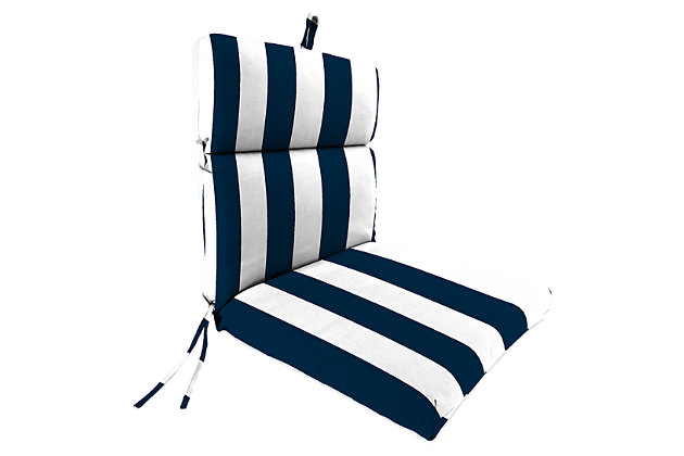 """Home Accents 22"""" x 44"""" French Edge Chair, White/Navy, large"""