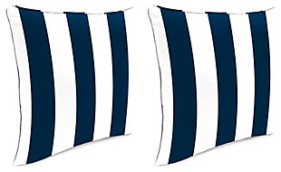 "Home Accents 24"" x 24"" Outdoor Pillow (Set of 2), White/Navy, large"