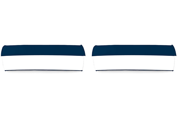 """Home Accents 20"""" x 7"""" Bolster Outdoor Pillow (Set of 2), White/Navy, large"""