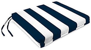 "Home Accents 17"" x 17"" French Edge Seat Cushion, White/Navy, large"
